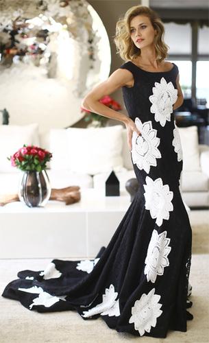 vestido de festa longo em renda renascença Martha Medeiras