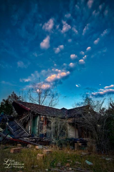 Chicken Ranch brothel ruins, sunset, La Grange, Texas. Lisa on Location photography. 365 photo project