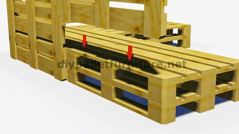 Instrucciones y planos en 3d de como hacer un sof para el jard n con palets - Construir sofa con palets ...