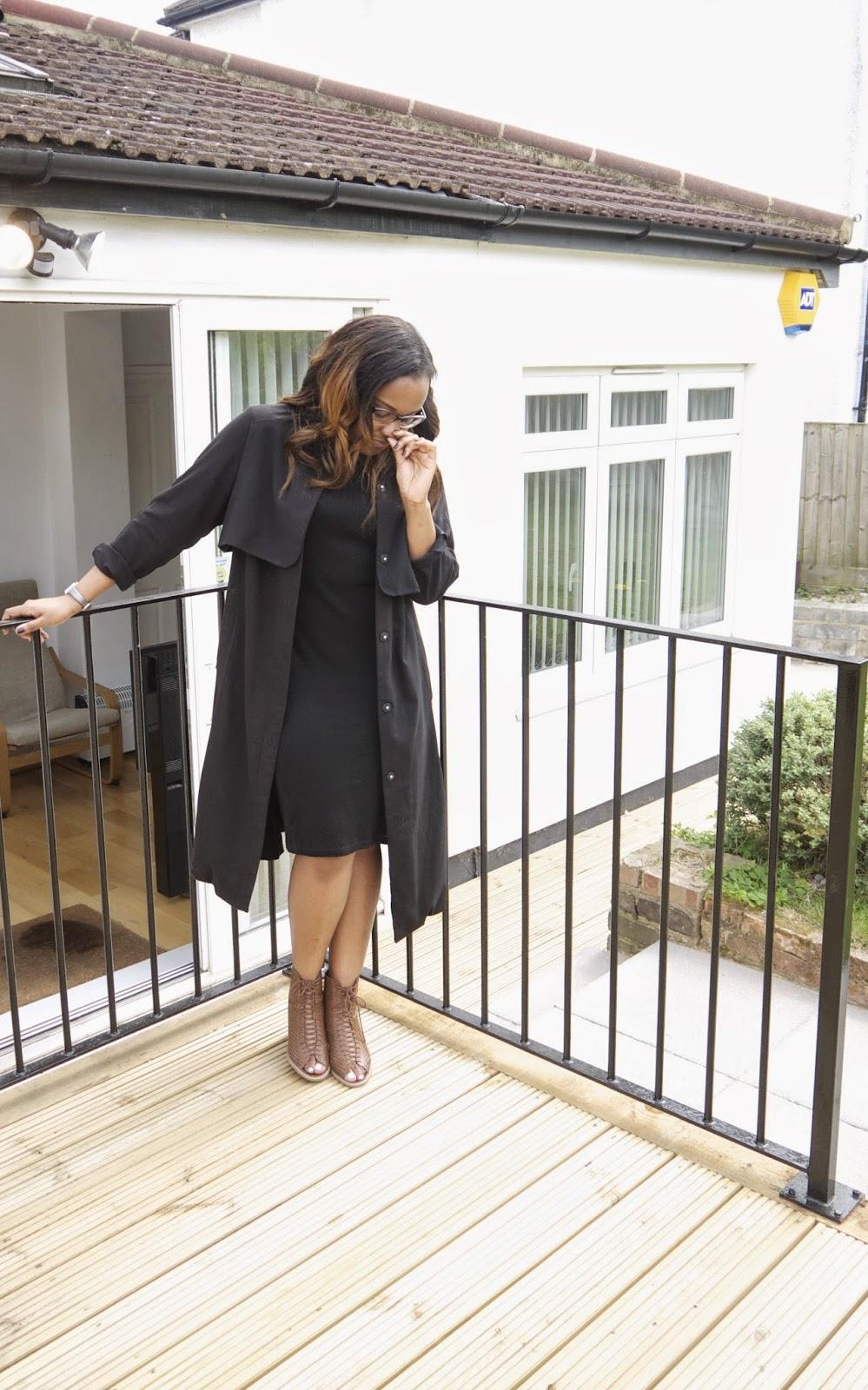 Asks Black Turtle Neck Midi Dress Black H&M HM Duster Coast Forever 21 Lace Up Peep Toe Sandals
