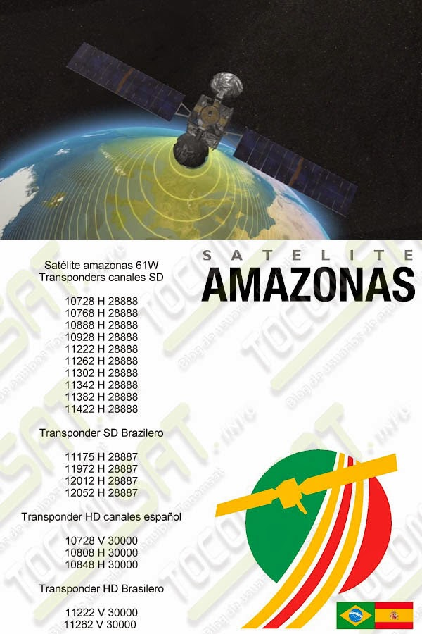 Transpondes amazonas sd, hd