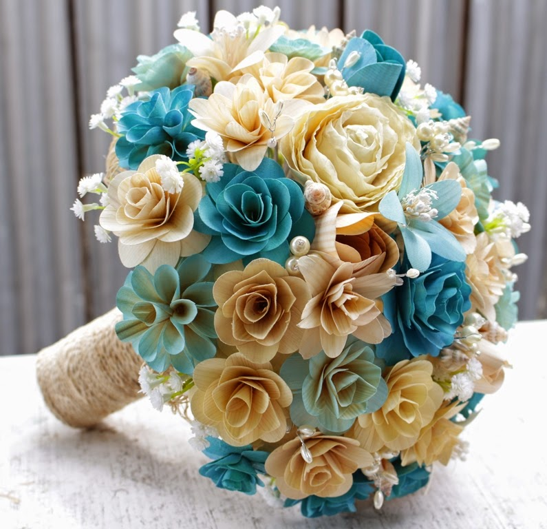 Ocean Themed Wedding Bouquets And Boutonnieres Made Of Wood Flowers