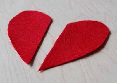 Половинки сердечка из фетра