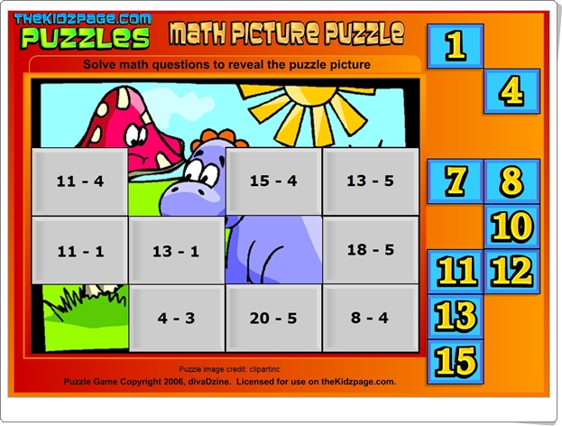 http://www.thekidzpage.com/learninggames/math_picture_puzzles/subtraction-to16-babydino.swf