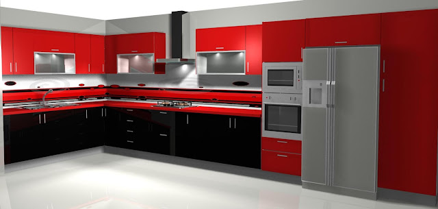 Dise o de cocina en rojo y negro for Cocinas modernas negras con rojo