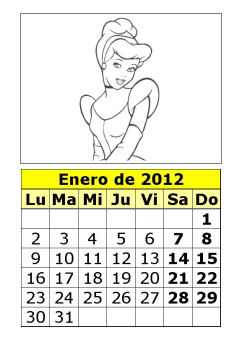 ... de princesas para colorear de 2012 (1ª parte) : Calendarios para