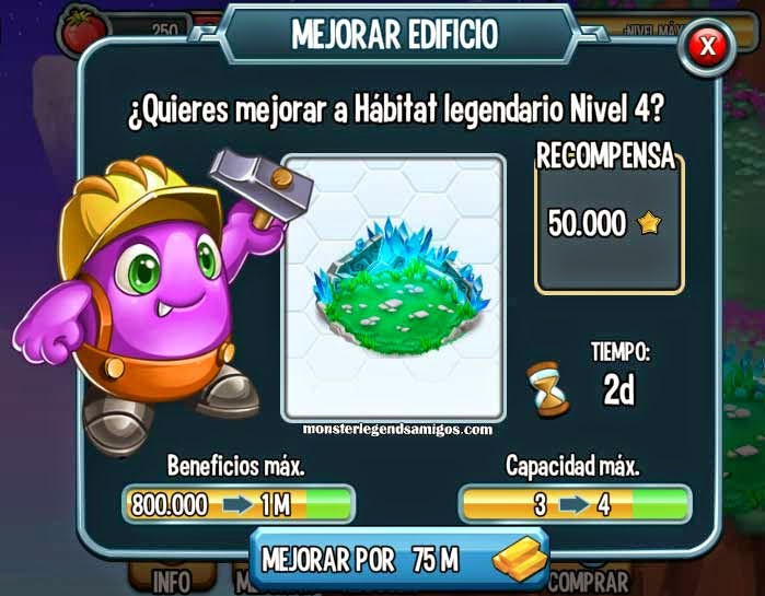 imagen del habitat legendario nivel 4 de monster legends