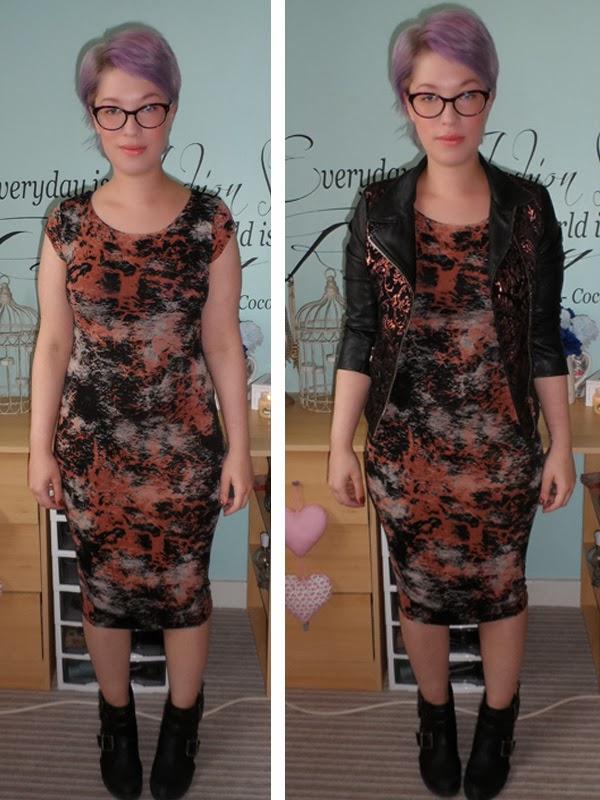New Look Splash Print Midi Dress, Leather Jacket, River Island Ankle Boots