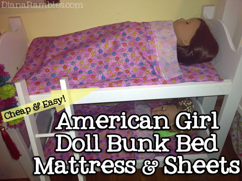 Great american girl doll bunk bed mattress sheets