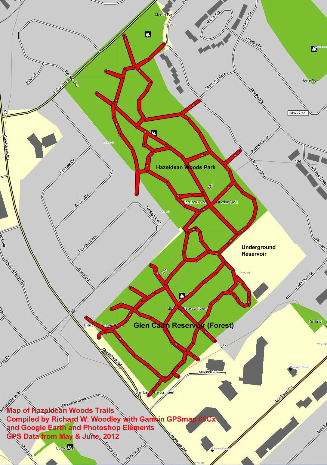 Richards GPS Trail Maps Hazeldean Woods Trails