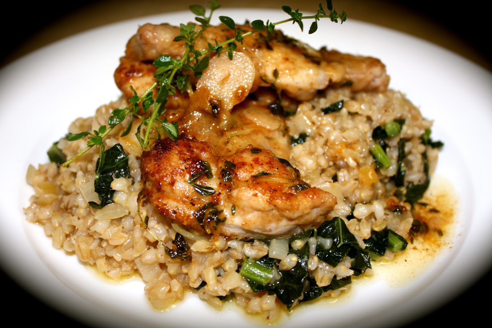 Lemon Thyme and Garlic Chicken with Pearl Barley Risotto | Em's Food ...
