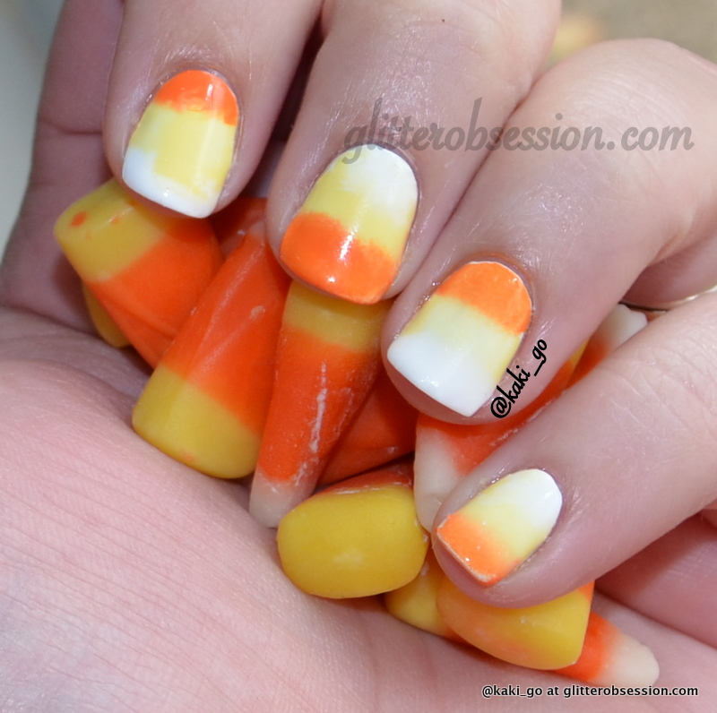 Glitter Obsession Halloween Nail Art Challenge Corn Candy