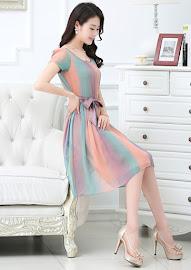 Short Sleeve Pastel Rainbow Crepe Silk Flare Dress