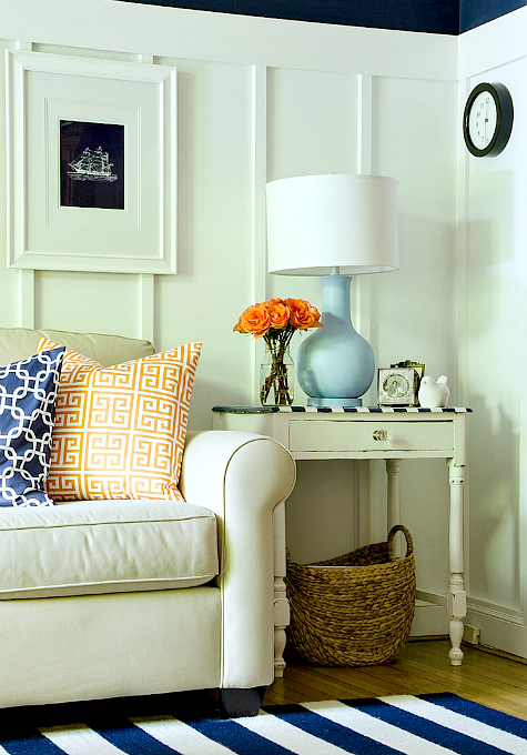 navy blue white living room ideas board batten striped rug