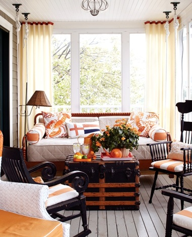 orange decor on porch