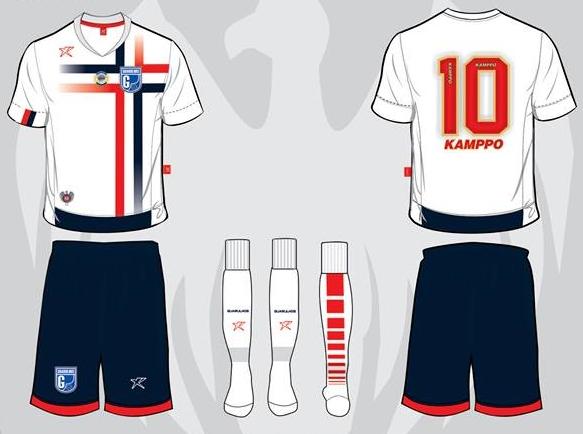 919aa65967 ... Guarulhos usará na Quarta Divisão do Campeonato Paulista em 2016. A  camisa titular é branca com o desenho de uma cruz nas cores azul e vermelha.