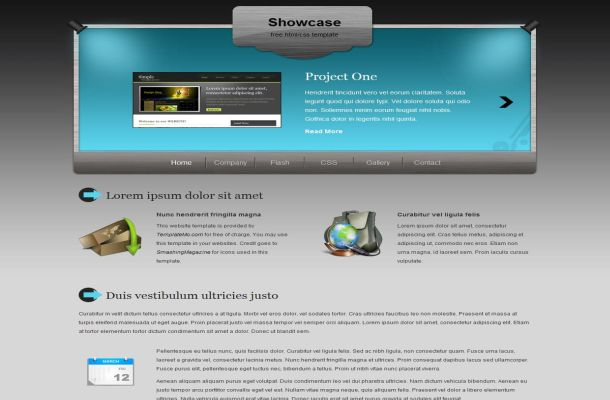 Free CSS Grey Blue Business Website Template