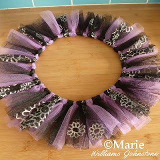 Halloween netting wreath in black and purple colors