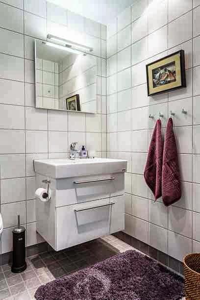 Orientalna grafika w skandynawskiej łazience