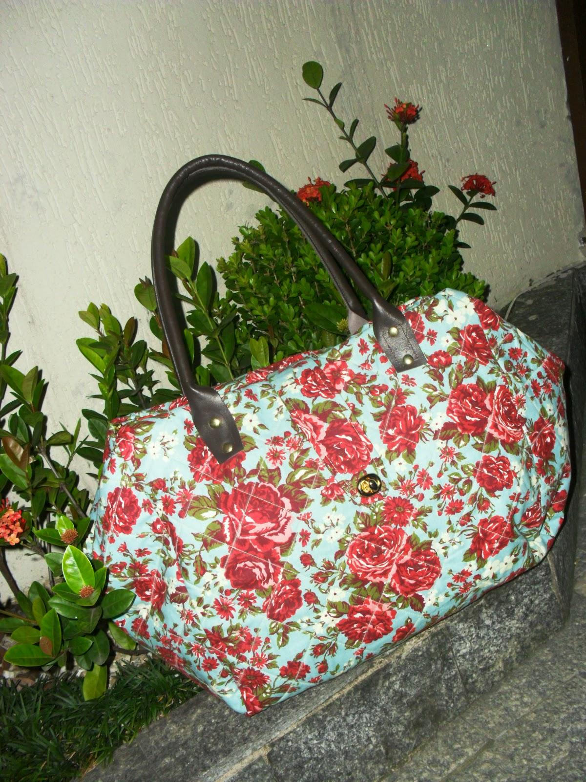 Bolsa De Tecido Linda : Fazendo arte bolsa em tecido florido linda