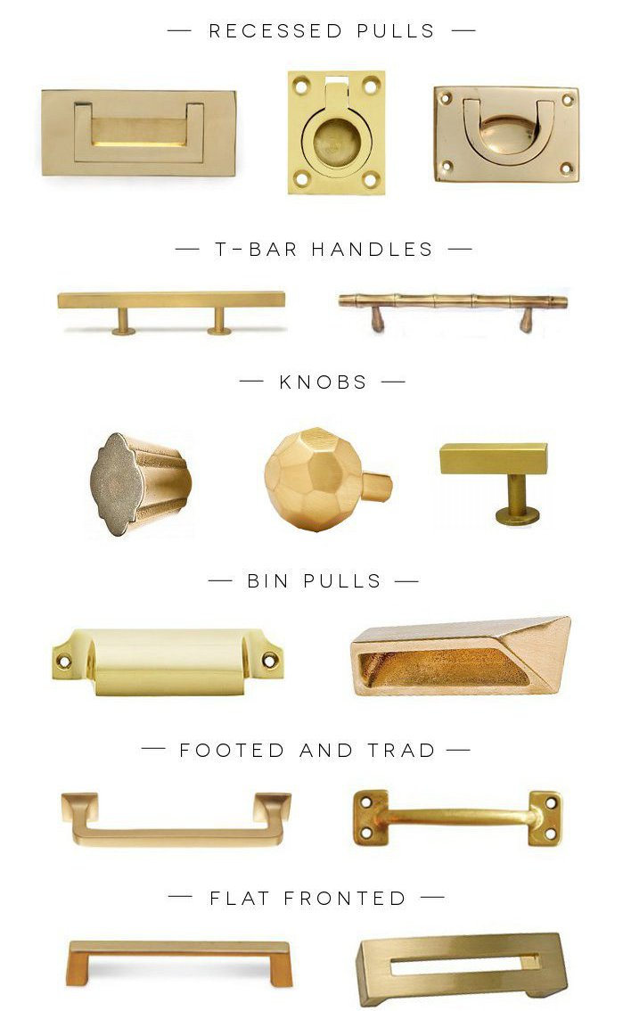 Peonies brass brass obsessed a hardware round up of for Brass hardware for kitchen cabinets