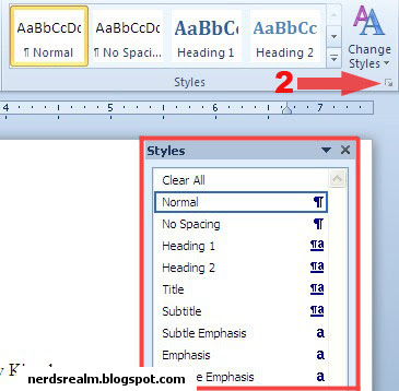 ms word how to start a contents page