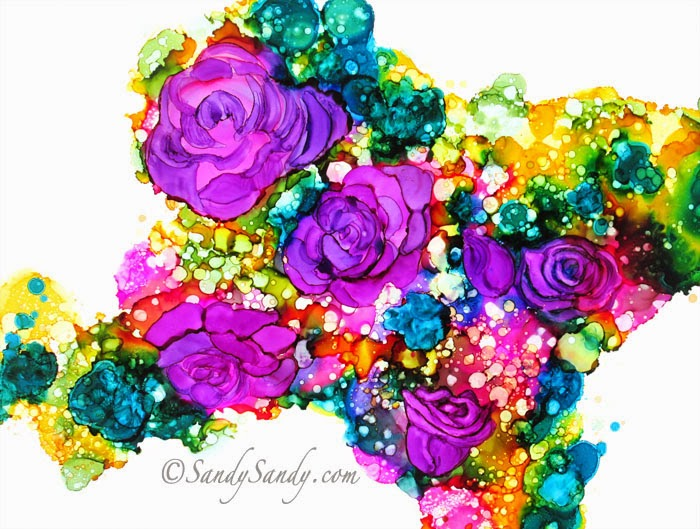 Alcohol Ink Painting on Yupo paper by Sandy Sandy Spiritartist
