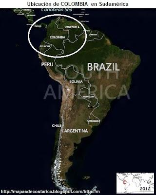 Ubicación de COLOMBIA en Sudamérica