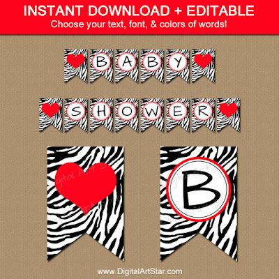zebra baby shower banner printable download