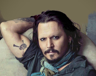 Johnny Depp with no eyebrows www.thebrighterwriter.blogspot.com
