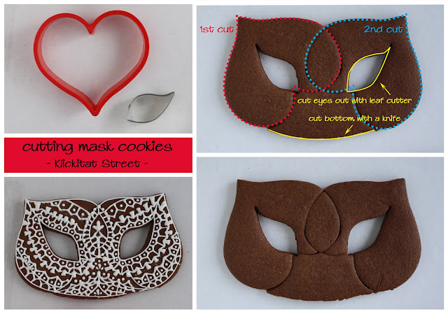lace mask cookie cut with heart cookie cutter
