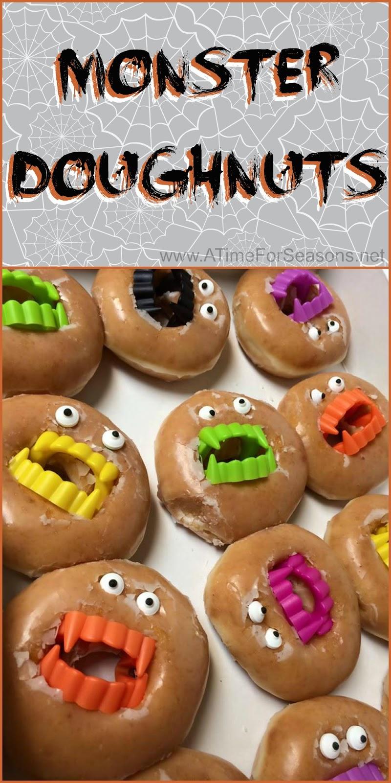 Monster doughnuts for Halloween food ideas for preschoolers