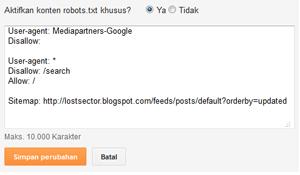 pengaturan robot.txt dan custom robots header tags
