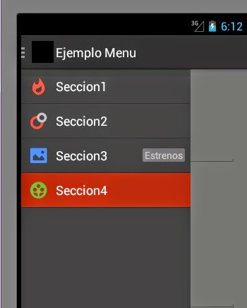 how to change menu android studio