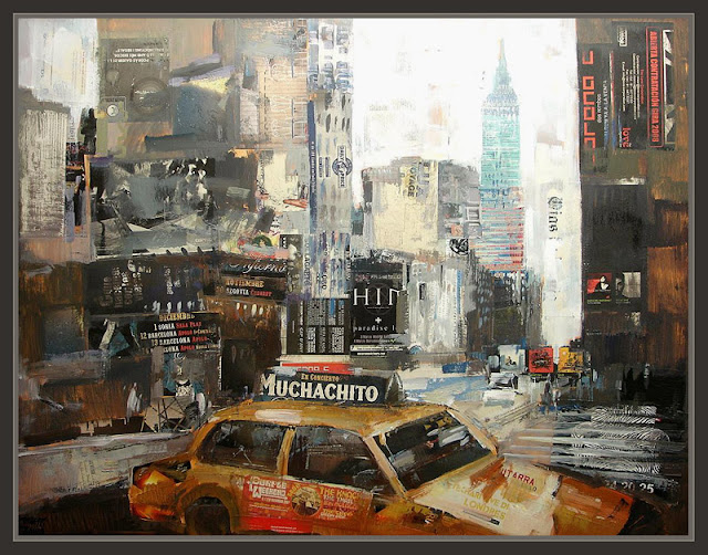 NUEVA YORK-PINTURA-ARTE-EMPIRE STATE BUILDING-TAXIS-CUADROS-ERNEST DESCALS-
