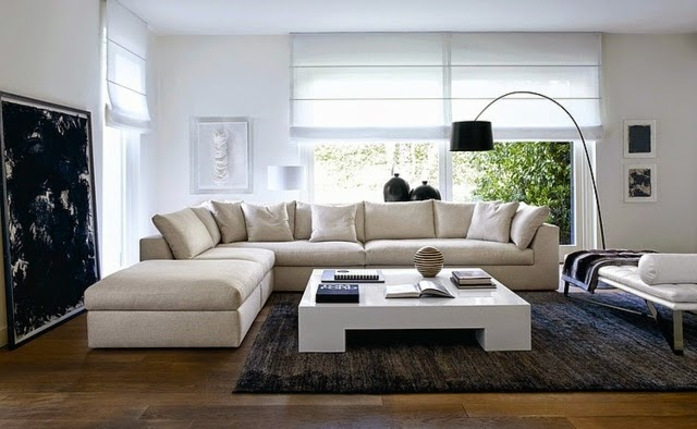 Living Room Interior Design Neutral Sofa And Coffee Table
