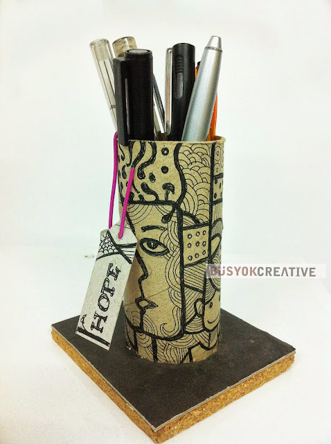 upcycle, recycle art, toilet paper tube, pen holder