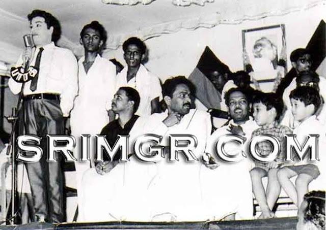 MGR with Karunanidhi, K. Veeramani & M.K. Stalin (MGR's Behind)