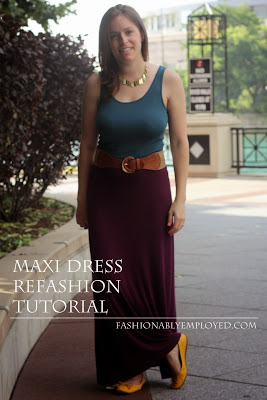 #DIY maxi dress #refashion #tutorial - casual style - www.fashionablyemployed.com