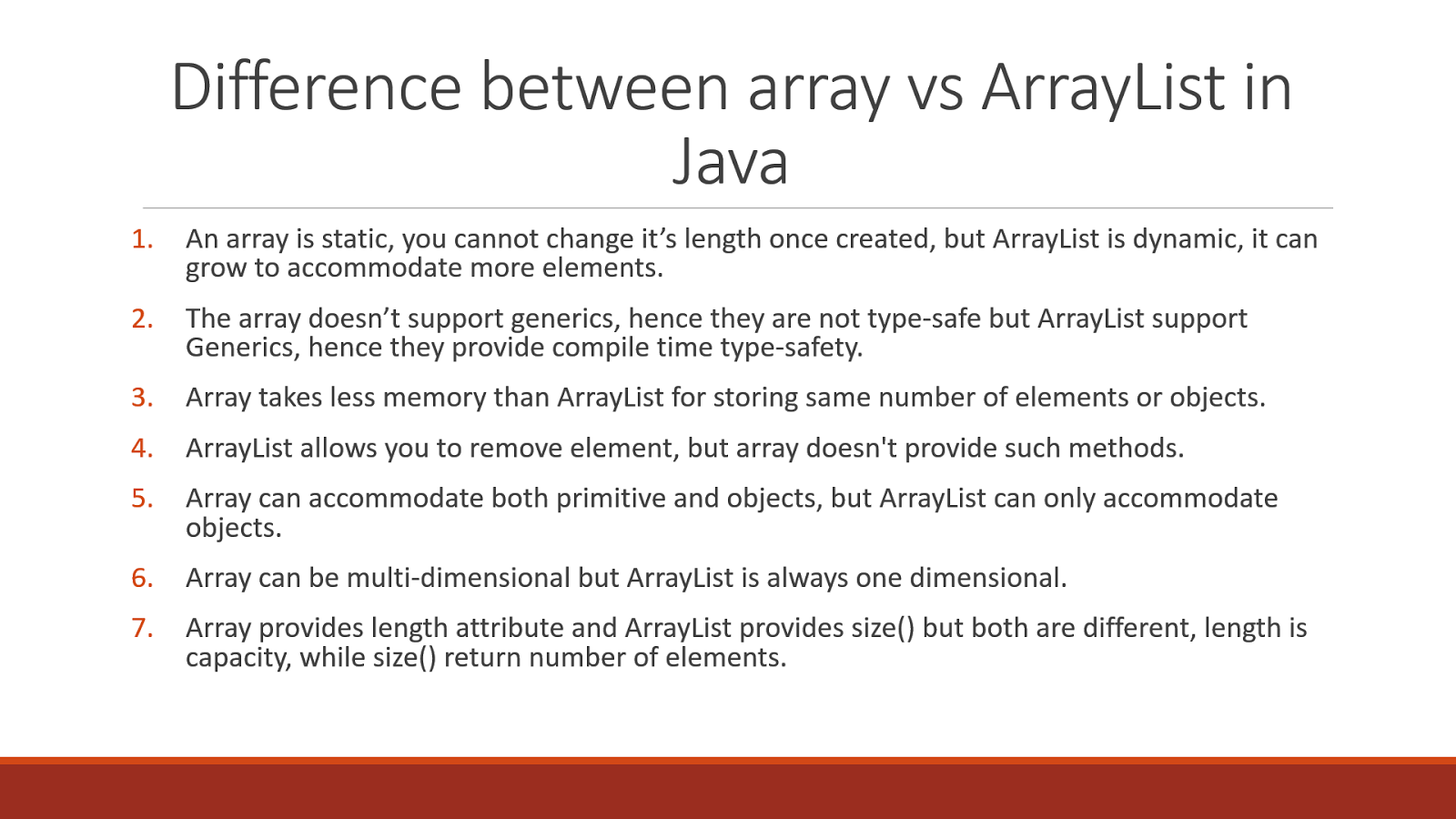 9 difference between Array vs ArrayList in Java