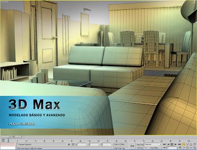 modelo 3D max habitación muebles modelado malla diseño curso 3D