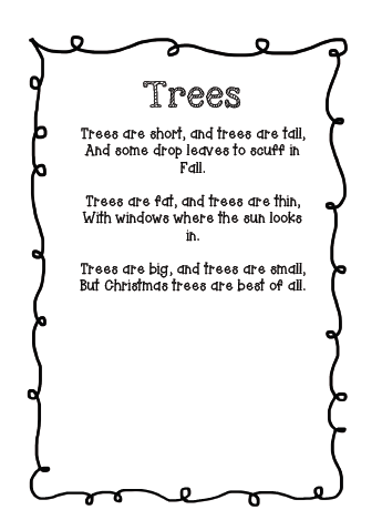 school and at home last week my class did a poem about trees i structure all my poems the same i have a copy i introduce to the children on monday