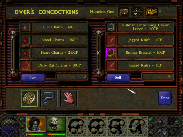 Planescape Torment shop screen
