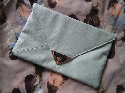 ASOS mint green envelope clutch bag