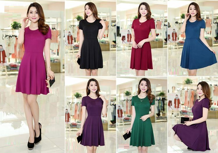 Six-color Jersey Flared Short Sleeve Dress