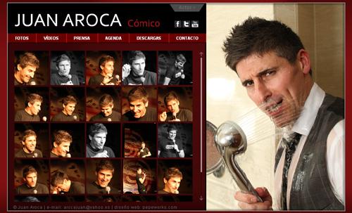 página web oficial del actor, cómico y monologuista Juan Aroca, diseñada por pepeworks