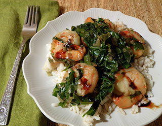 Shrimp Braised with Kale Drizzled with Balsamic