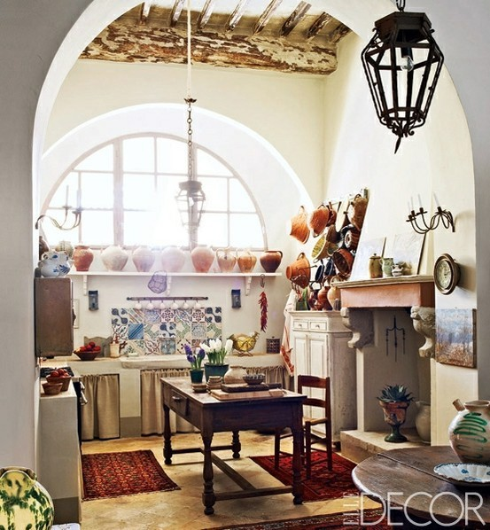 Dreamy, comfortable Boho kitchen from Elle Decor