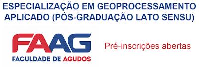 Especialização em Geoprocessamento pela FAAG com inscrições abertas!