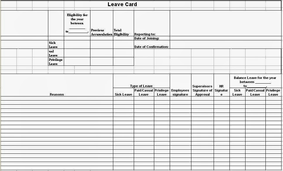 Leave Card Format In Excel